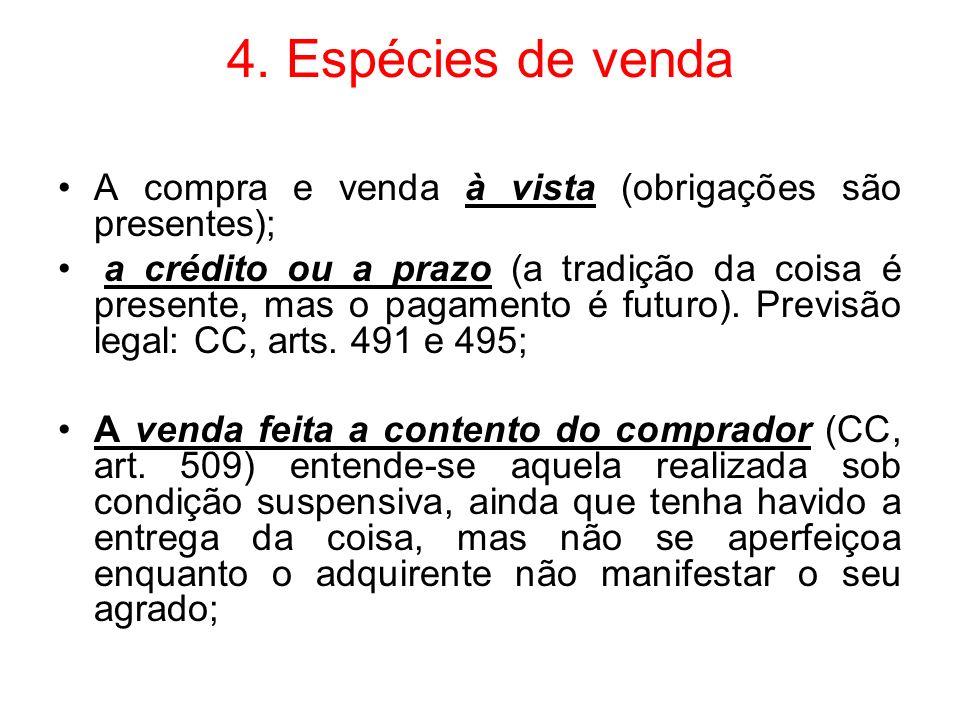 4. Espécies de venda A compra e venda à vista (obrigações são presentes);