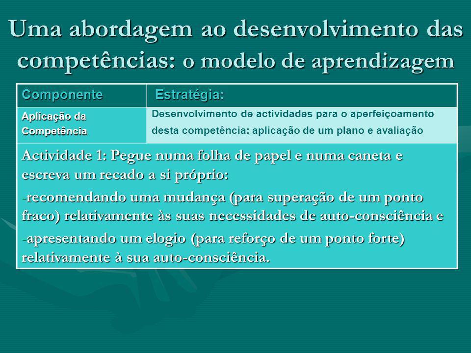 Uma abordagem ao desenvolvimento das competências: o modelo de aprendizagem