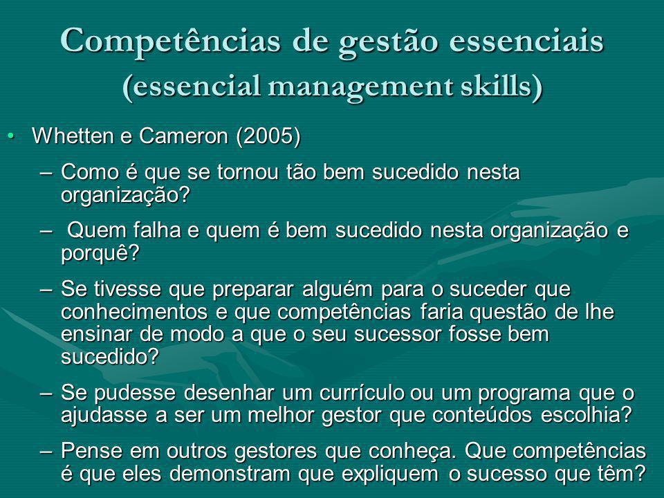 Competências de gestão essenciais (essencial management skills)