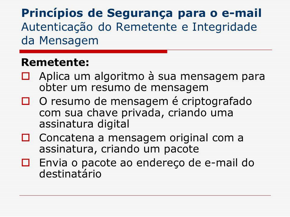Princípios de Segurança para o e-mail Autenticação do Remetente e Integridade da Mensagem