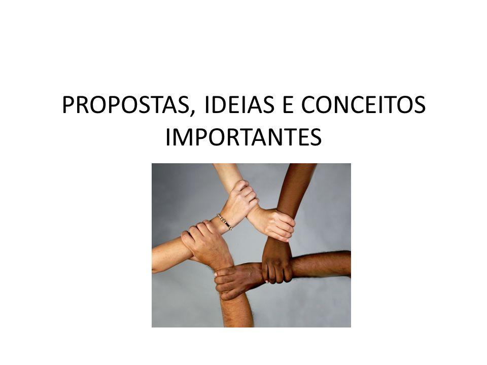 PROPOSTAS, IDEIAS E CONCEITOS IMPORTANTES