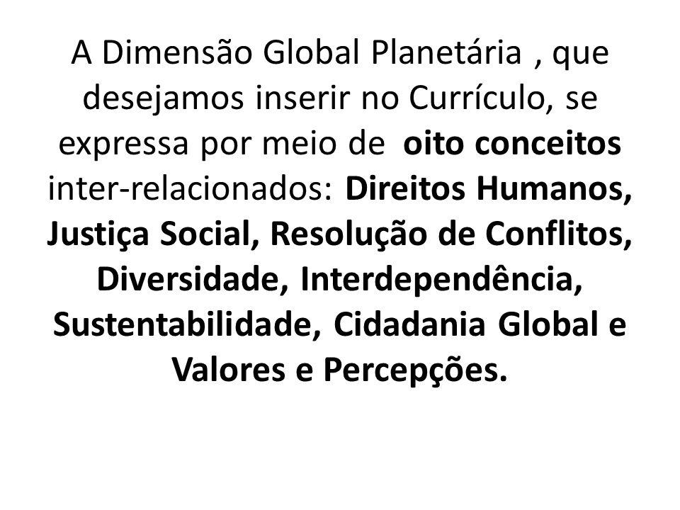 A Dimensão Global Planetária , que desejamos inserir no Currículo, se expressa por meio de oito conceitos inter-relacionados: Direitos Humanos, Justiça Social, Resolução de Conflitos, Diversidade, Interdependência, Sustentabilidade, Cidadania Global e Valores e Percepções.