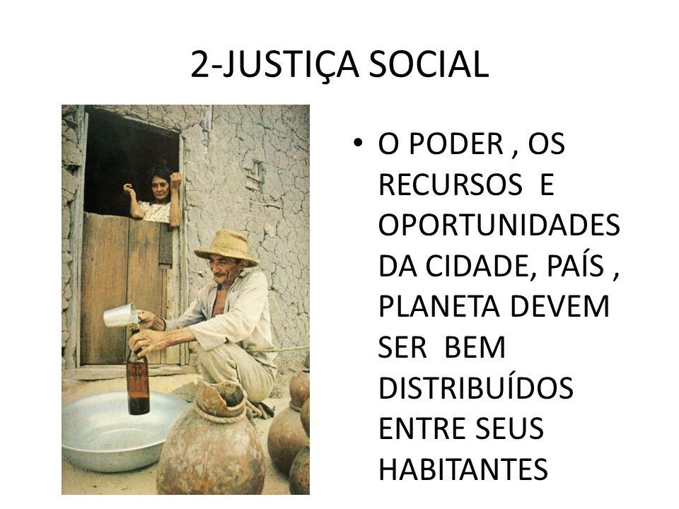 2-JUSTIÇA SOCIALO PODER , OS RECURSOS E OPORTUNIDADES DA CIDADE, PAÍS , PLANETA DEVEM SER BEM DISTRIBUÍDOS ENTRE SEUS HABITANTES.