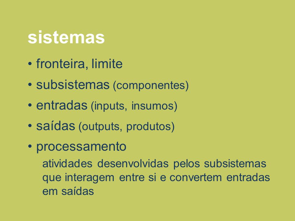 sistemas fronteira, limite subsistemas (componentes)