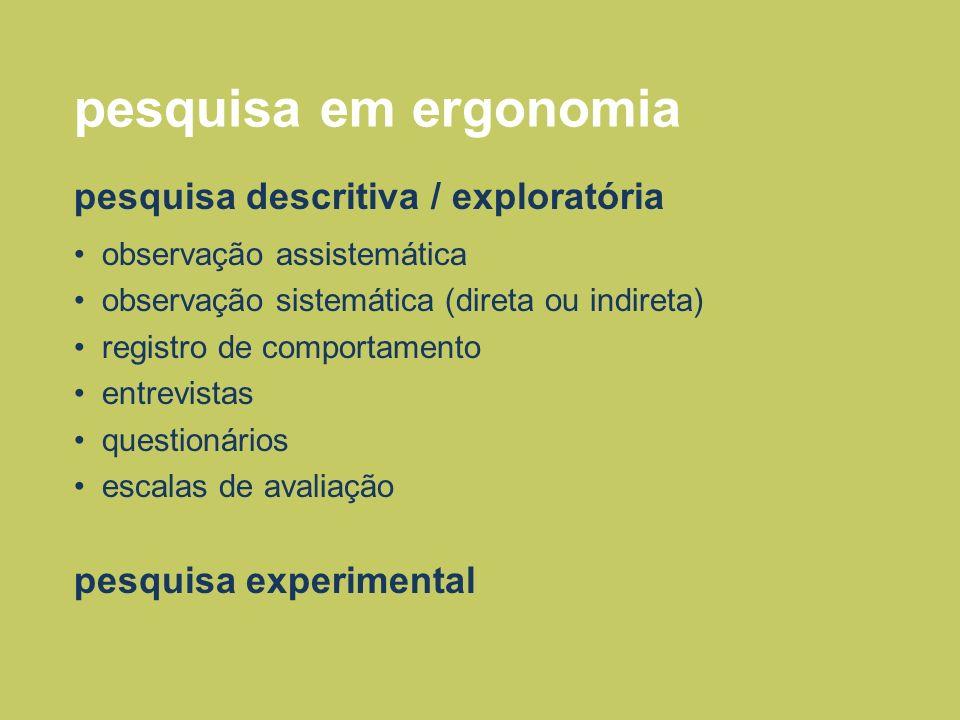pesquisa em ergonomia pesquisa descritiva / exploratória
