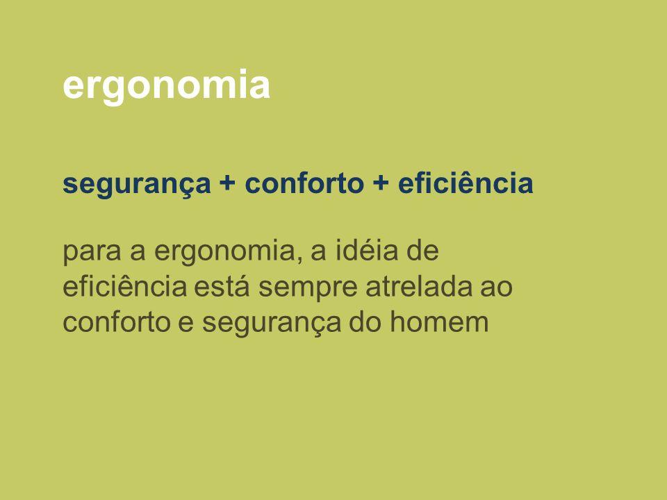 ergonomia segurança + conforto + eficiência