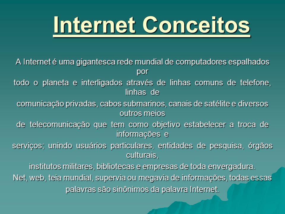 Internet ConceitosA Internet é uma gigantesca rede mundial de computadores espalhados por.
