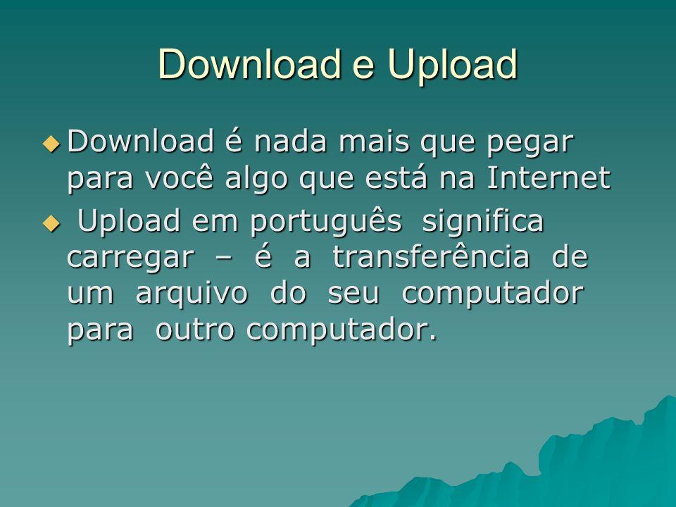 Download e UploadDownload é nada mais que pegar para você algo que está na Internet.