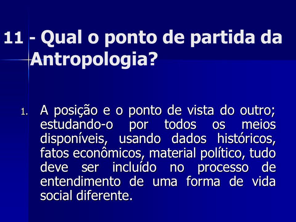 11 - Qual o ponto de partida da Antropologia