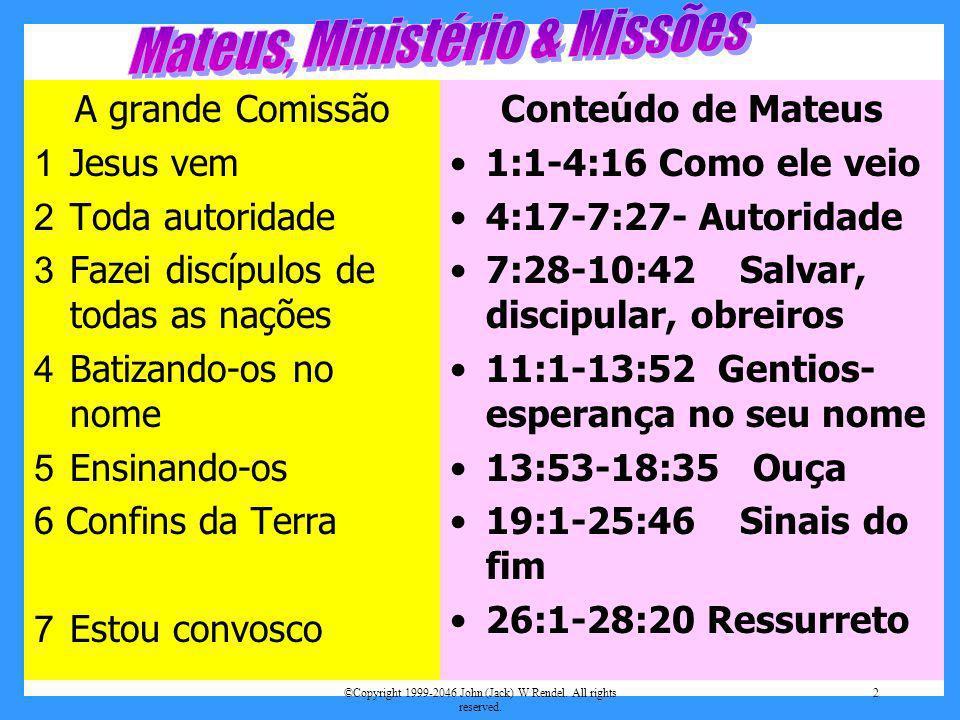 Mateus, Ministério & Missões