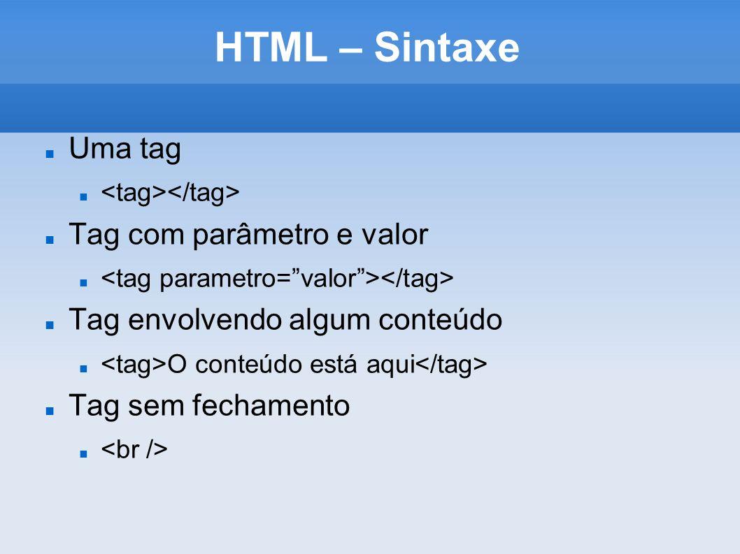 HTML – Sintaxe Uma tag Tag com parâmetro e valor