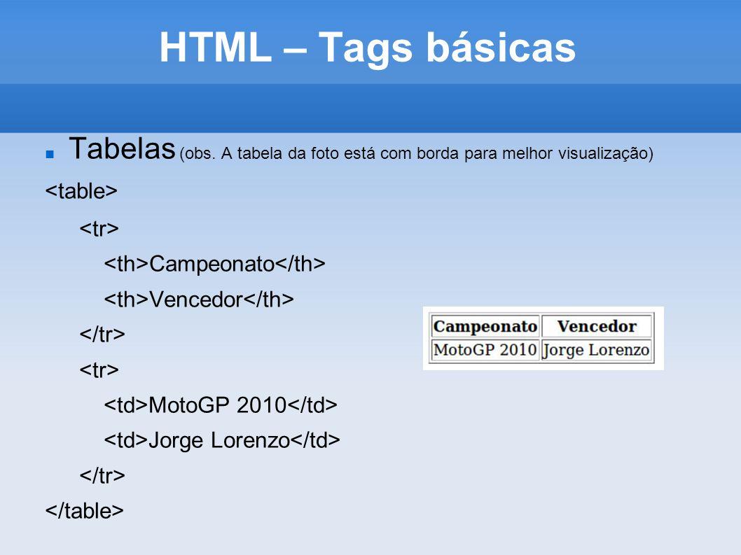HTML – Tags básicas Tabelas (obs. A tabela da foto está com borda para melhor visualização) <table>