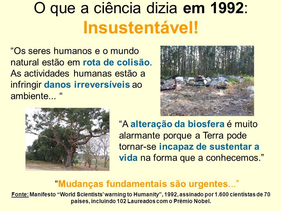 O que a ciência dizia em 1992: Insustentável!