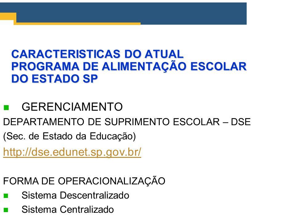 CARACTERISTICAS DO ATUAL PROGRAMA DE ALIMENTAÇÃO ESCOLAR DO ESTADO SP