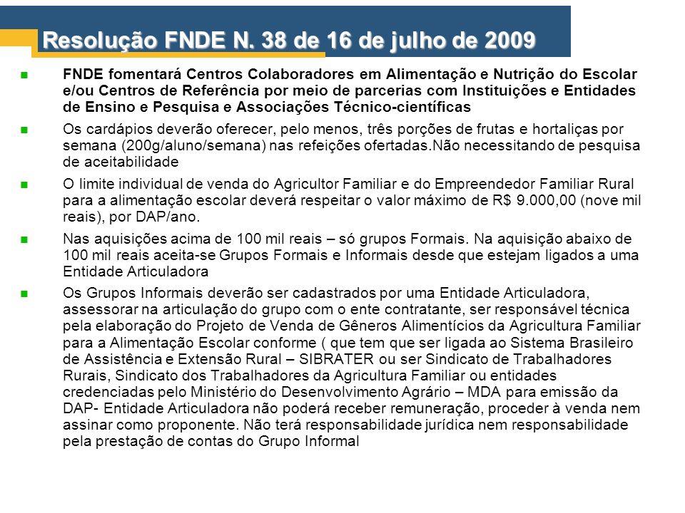 Resolução FNDE N. 38 de 16 de julho de 2009