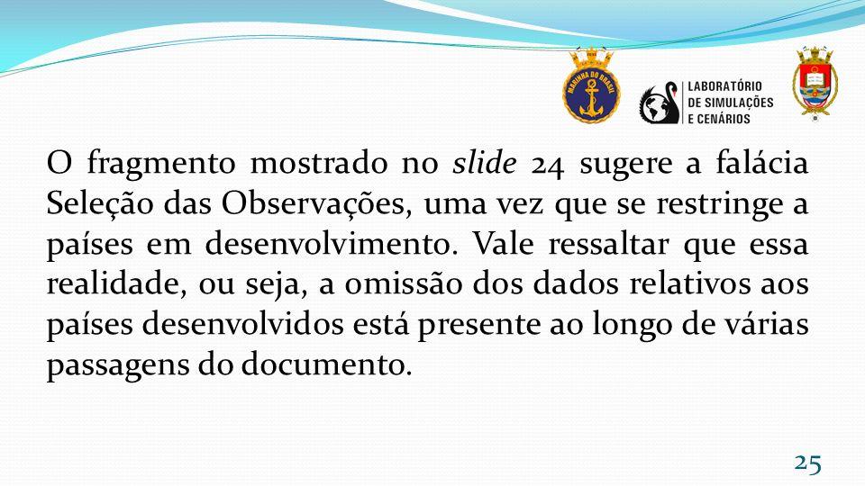 O fragmento mostrado no slide 24 sugere a falácia Seleção das Observações, uma vez que se restringe a países em desenvolvimento.