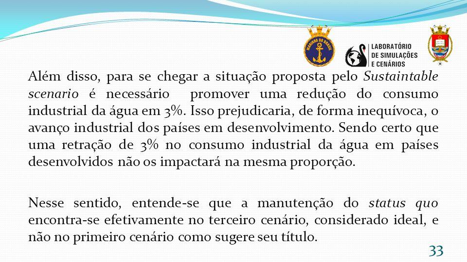 Além disso, para se chegar a situação proposta pelo Sustaintable scenario é necessário promover uma redução do consumo industrial da água em 3%.