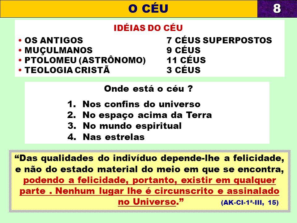 8 O CÉU Onde está o céu 1. Nos confins do universo