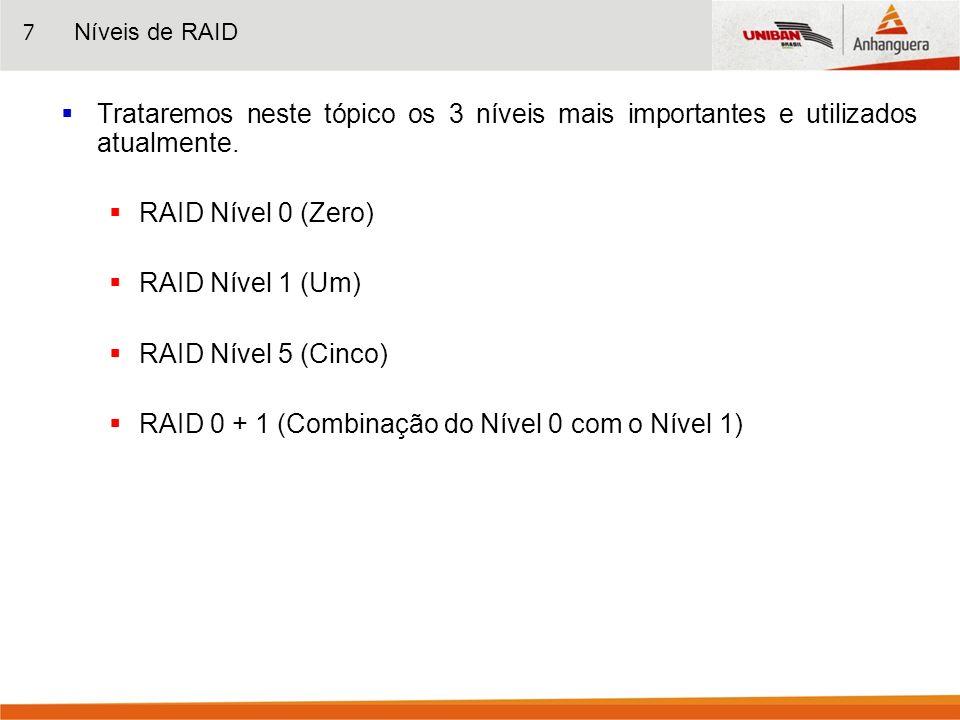 RAID 0 + 1 (Combinação do Nível 0 com o Nível 1)