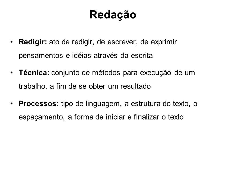 Redação Redigir: ato de redigir, de escrever, de exprimir pensamentos e idéias através da escrita.