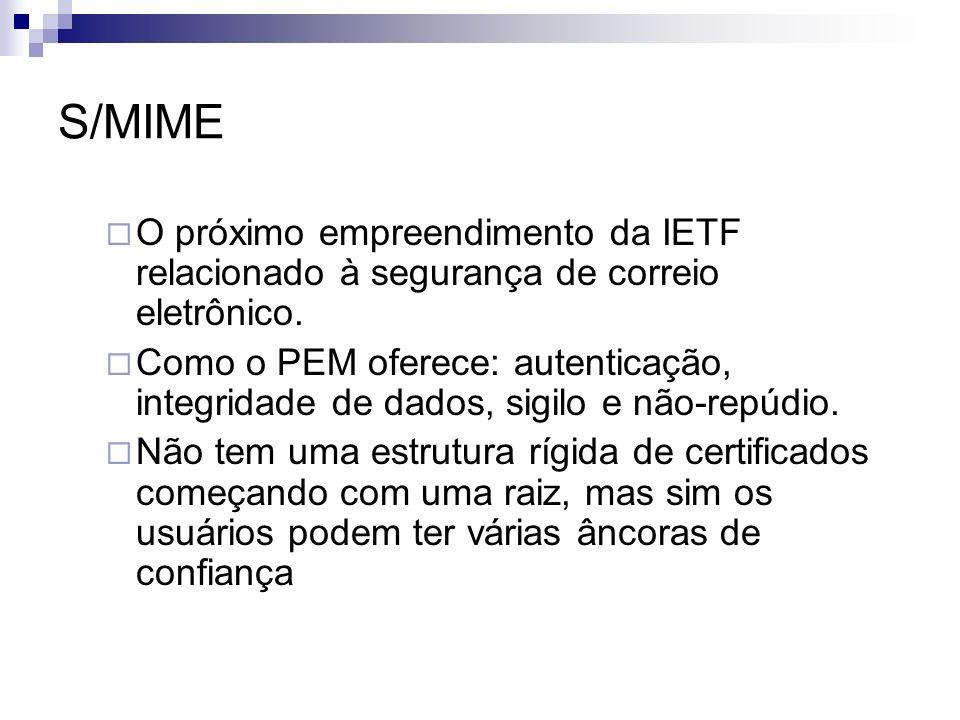 S/MIME O próximo empreendimento da IETF relacionado à segurança de correio eletrônico.