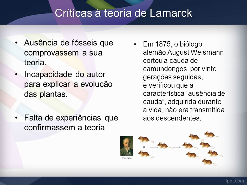 Críticas à teoria de Lamarck