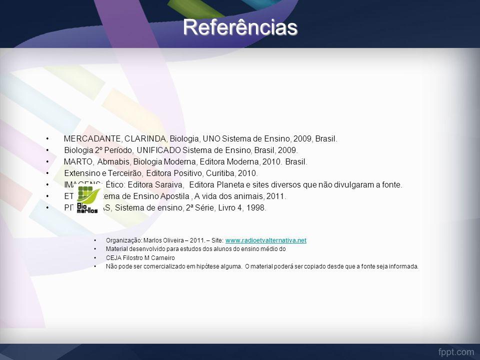 Referências MERCADANTE, CLARINDA, Biologia, UNO Sistema de Ensino, 2009, Brasil. Biologia 2º Período, UNIFICADO Sistema de Ensino, Brasil, 2009.