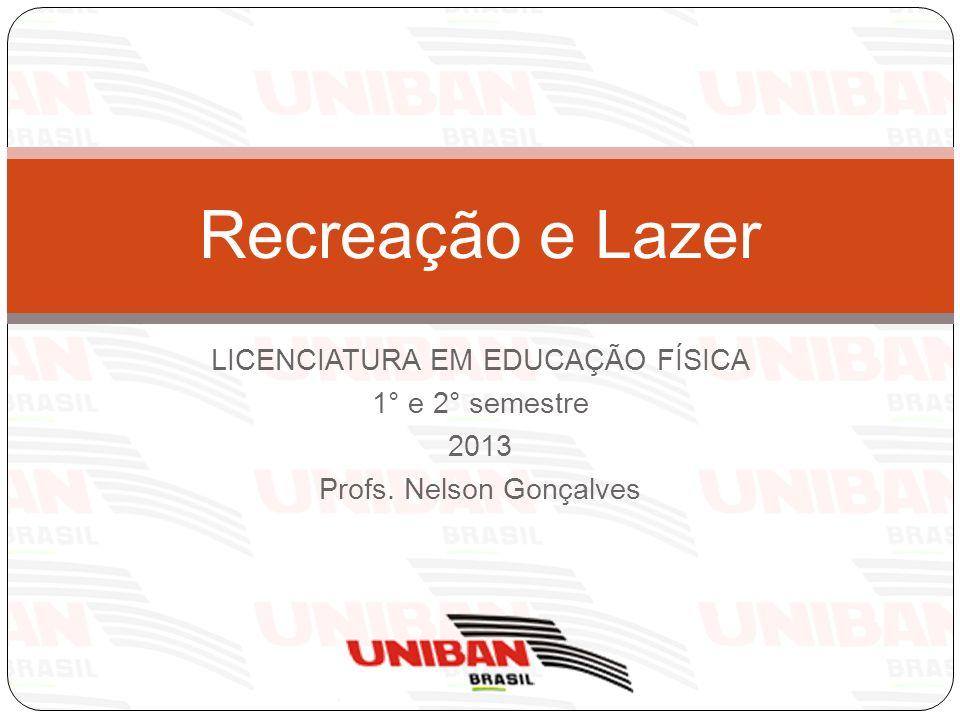 Recreação e Lazer LICENCIATURA EM EDUCAÇÃO FÍSICA 1° e 2° semestre
