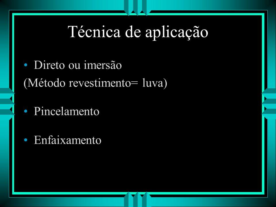 Técnica de aplicação Direto ou imersão (Método revestimento= luva)