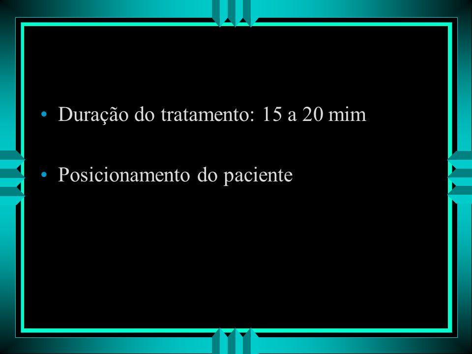 Duração do tratamento: 15 a 20 mim