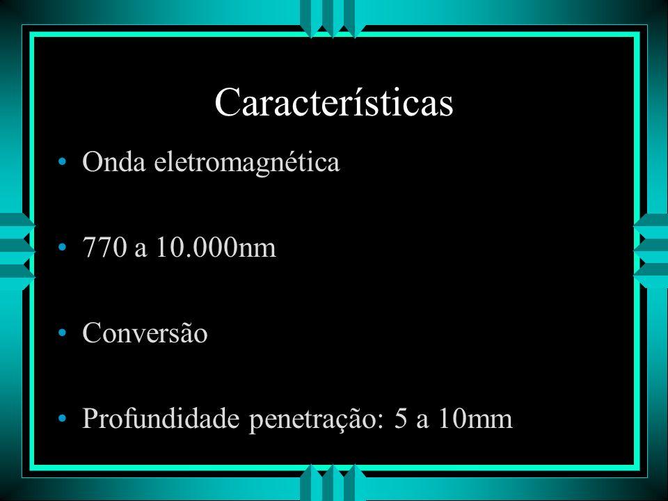 Características Onda eletromagnética 770 a 10.000nm Conversão