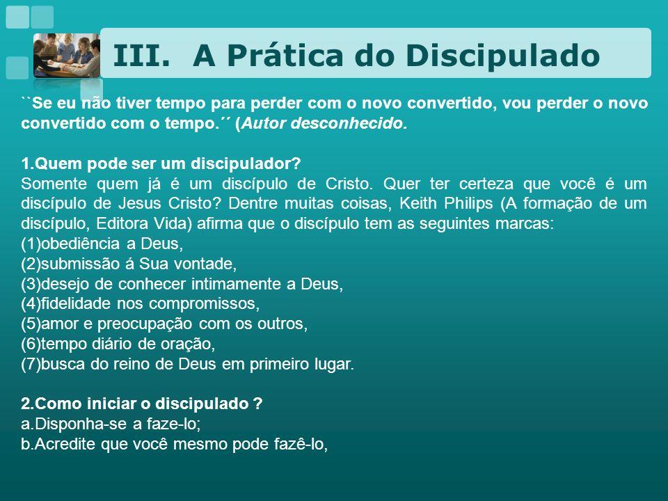 A Prática do Discipulado