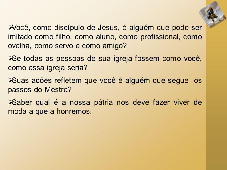 Você, como discípulo de Jesus, é alguém que pode ser imitado como filho, como aluno, como profissional, como ovelha, como servo e como amigo