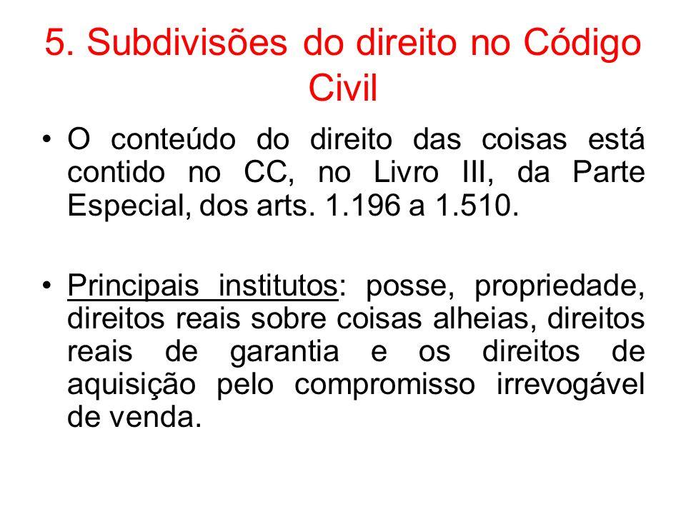 5. Subdivisões do direito no Código Civil
