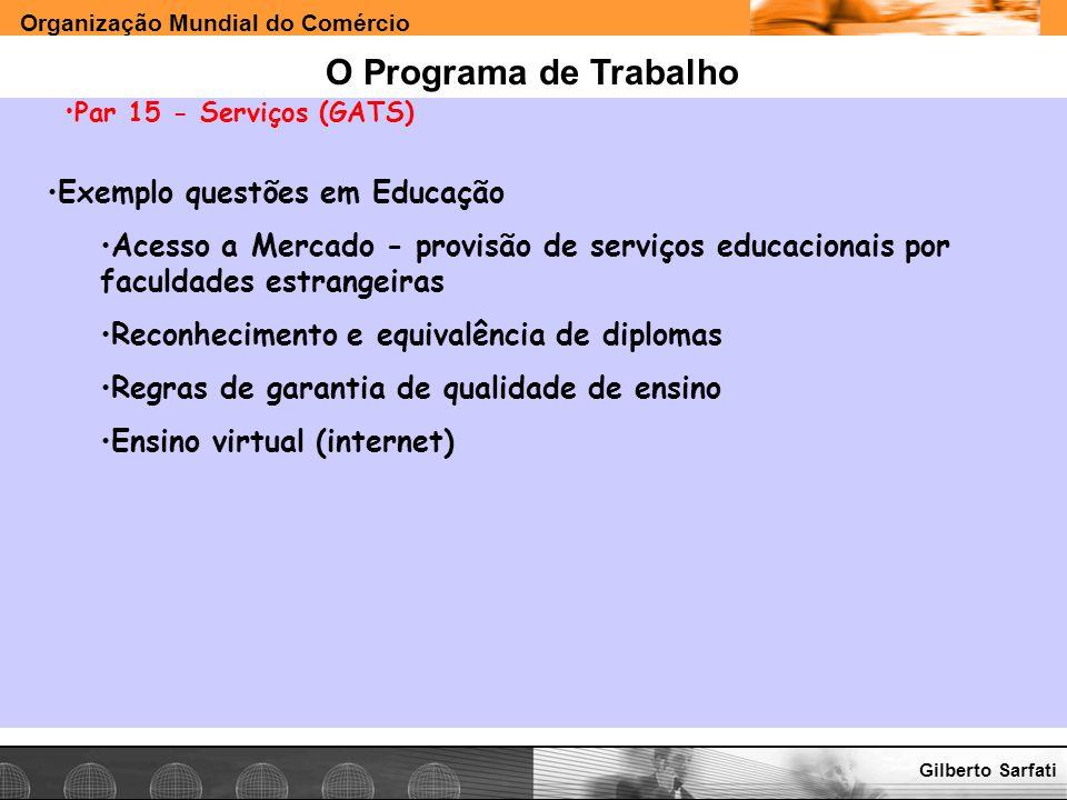 O Programa de Trabalho Exemplo questões em Educação