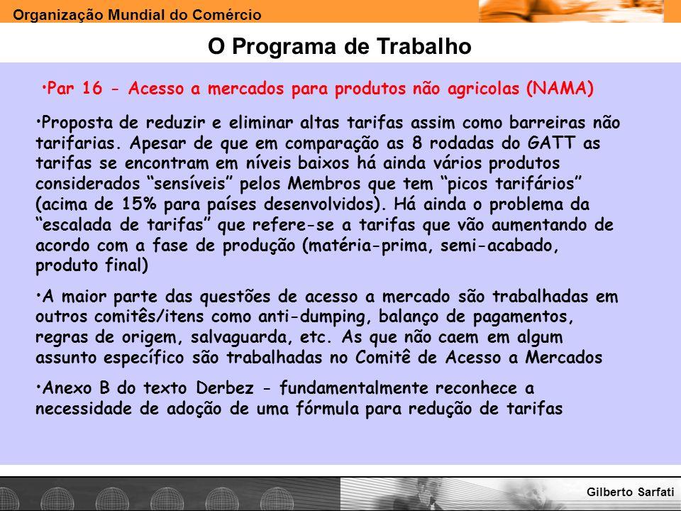 O Programa de Trabalho Par 16 - Acesso a mercados para produtos não agricolas (NAMA)