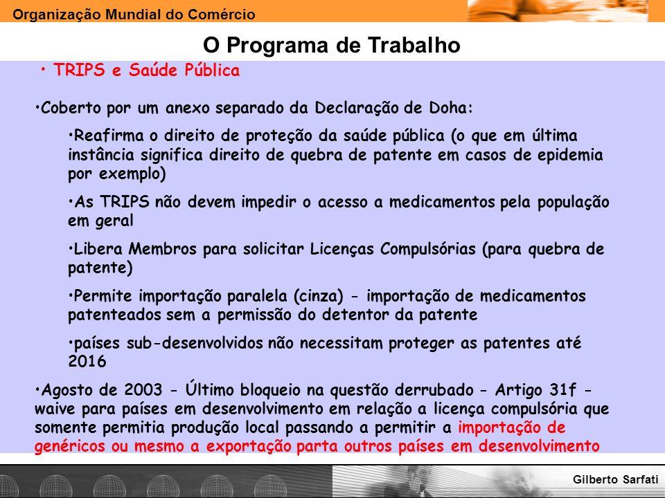 O Programa de Trabalho TRIPS e Saúde Pública