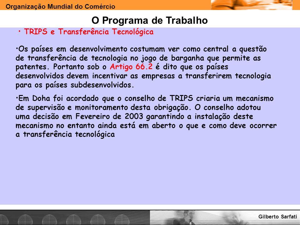 O Programa de Trabalho TRIPS e Transferência Tecnológica