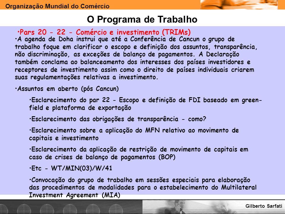 O Programa de Trabalho Pars 20 - 22 - Comércio e investimento (TRIMs)