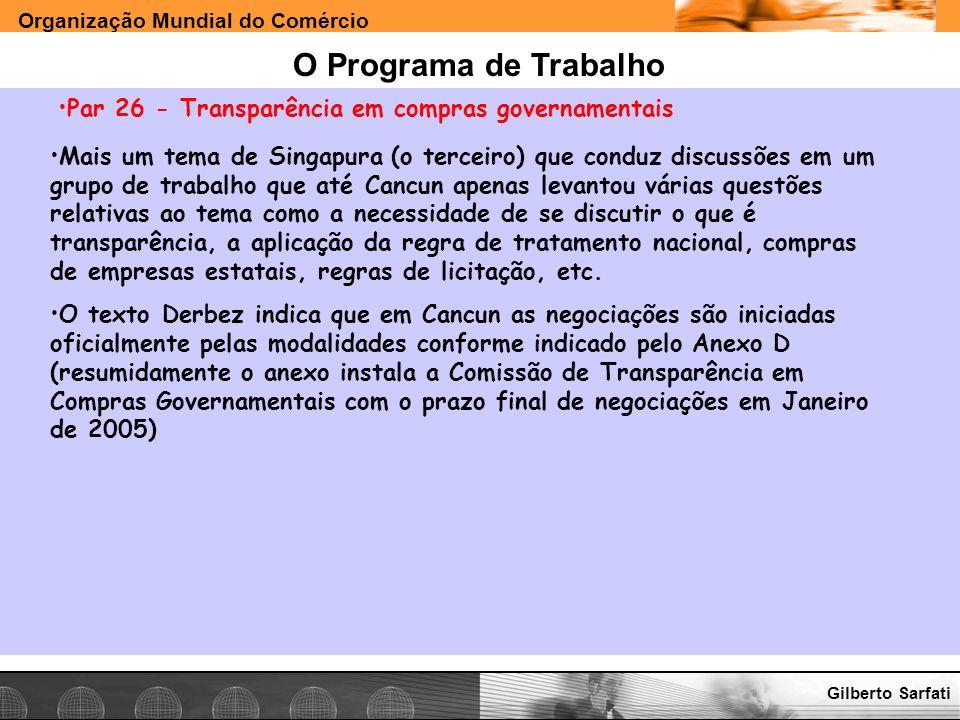 O Programa de Trabalho Par 26 - Transparência em compras governamentais.