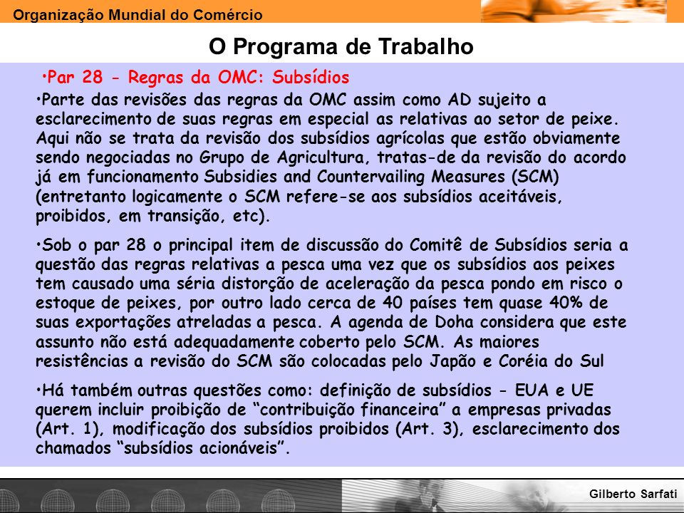 O Programa de Trabalho Par 28 - Regras da OMC: Subsídios