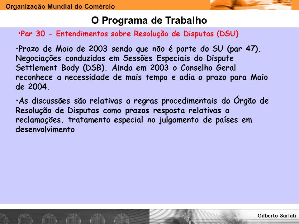O Programa de Trabalho Par 30 - Entendimentos sobre Resolução de Disputas (DSU)