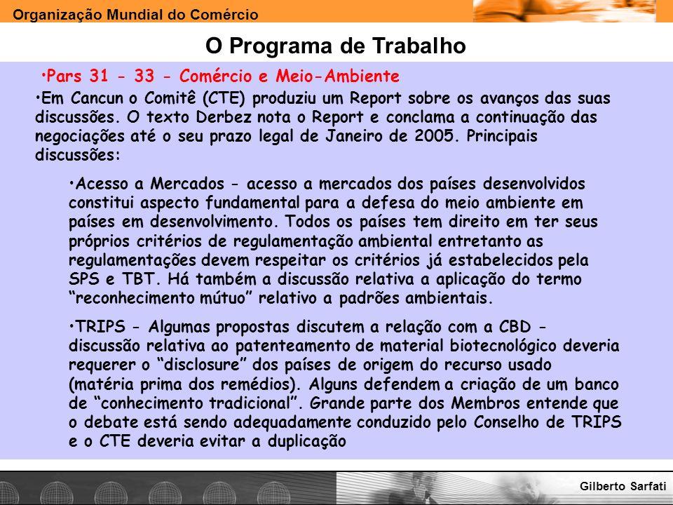 O Programa de Trabalho Pars 31 - 33 - Comércio e Meio-Ambiente