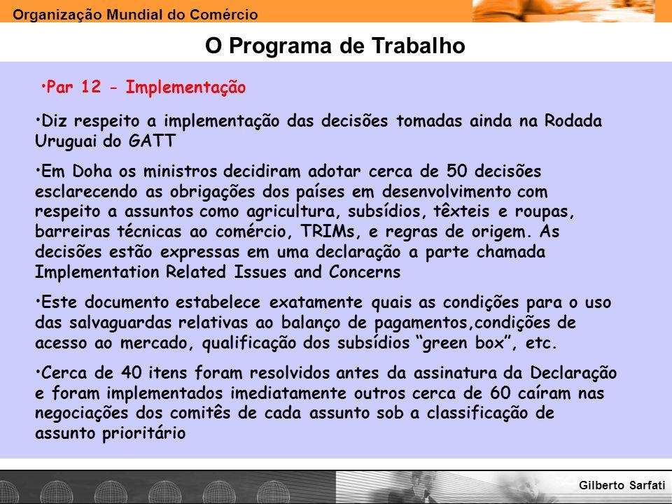 O Programa de Trabalho Par 12 - Implementação