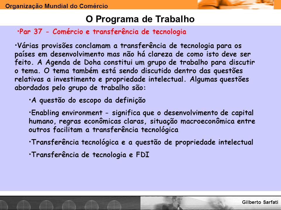 O Programa de Trabalho Par 37 - Comércio e transferência de tecnologia