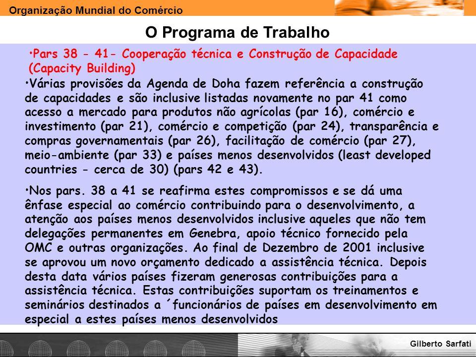 O Programa de Trabalho Pars 38 - 41- Cooperação técnica e Construção de Capacidade (Capacity Building)