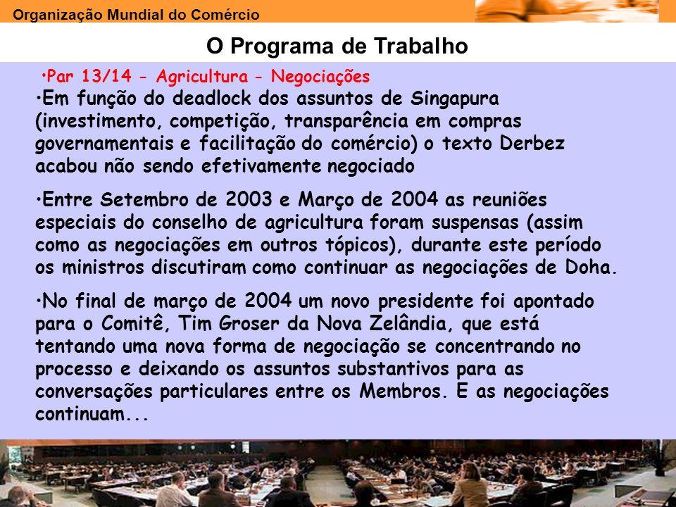 O Programa de Trabalho Par 13/14 - Agricultura - Negociações.