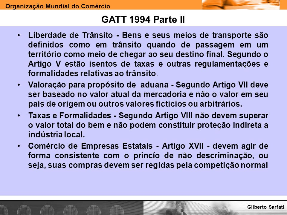 GATT 1994 Parte II