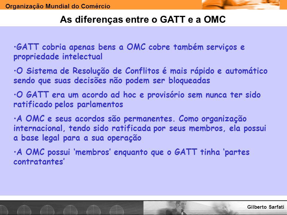 As diferenças entre o GATT e a OMC