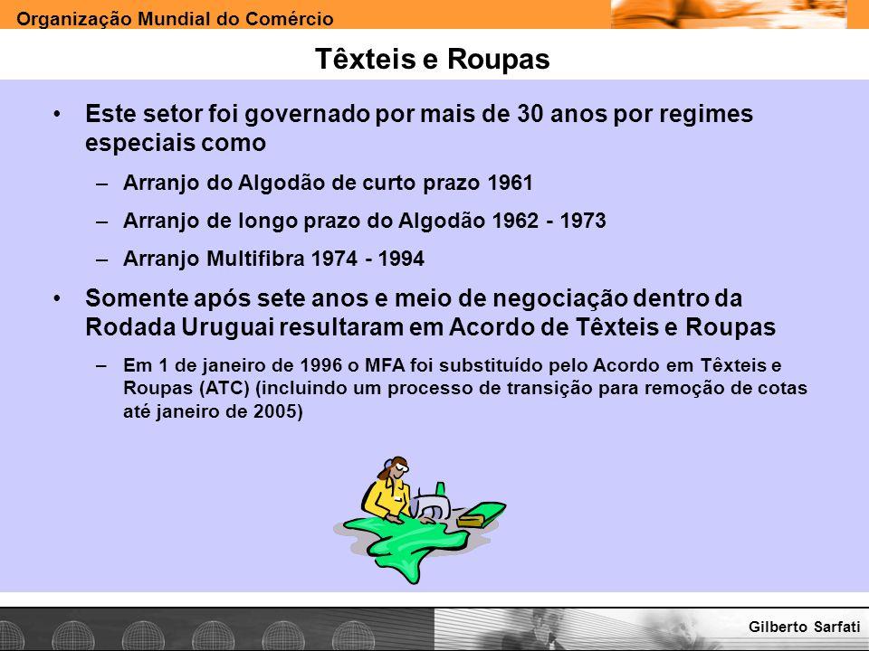 Têxteis e Roupas Este setor foi governado por mais de 30 anos por regimes especiais como. Arranjo do Algodão de curto prazo 1961.